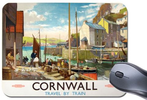 Cornwall By Train Vintage Railway Poster Mouse Mat. Cornish Harbour Mouse Pad